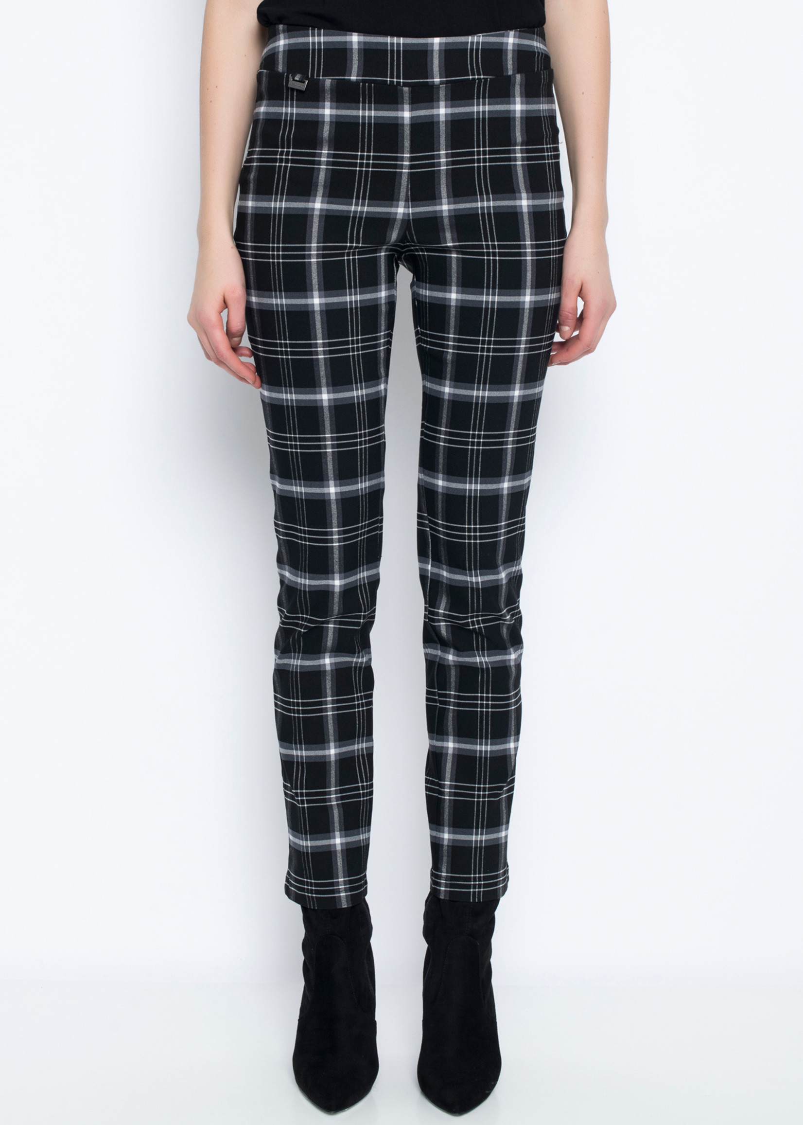 Picadilly Picadilly Black Plaid Pull On Pant