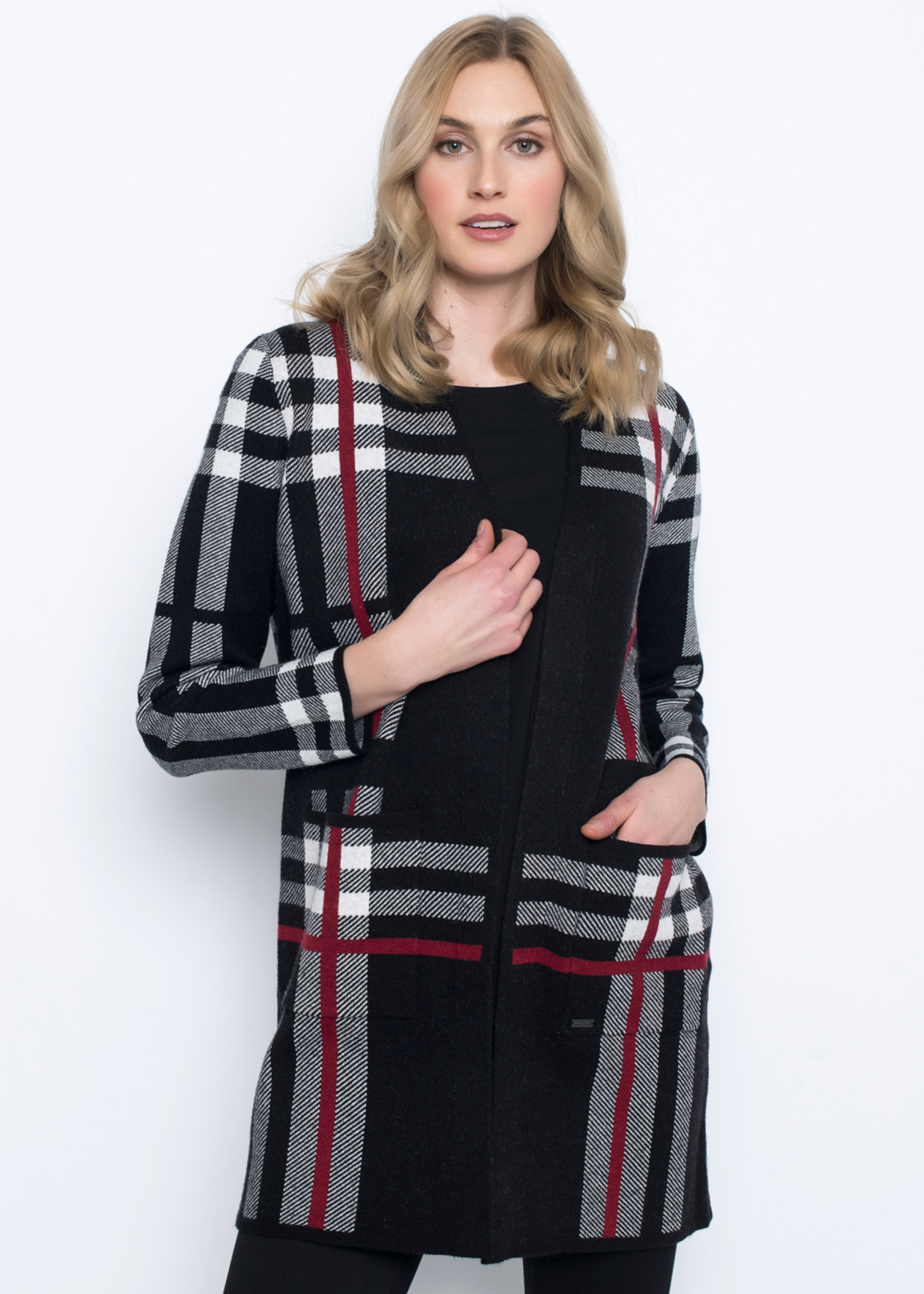 Picadilly Picadilly Long Plaid Cardigan