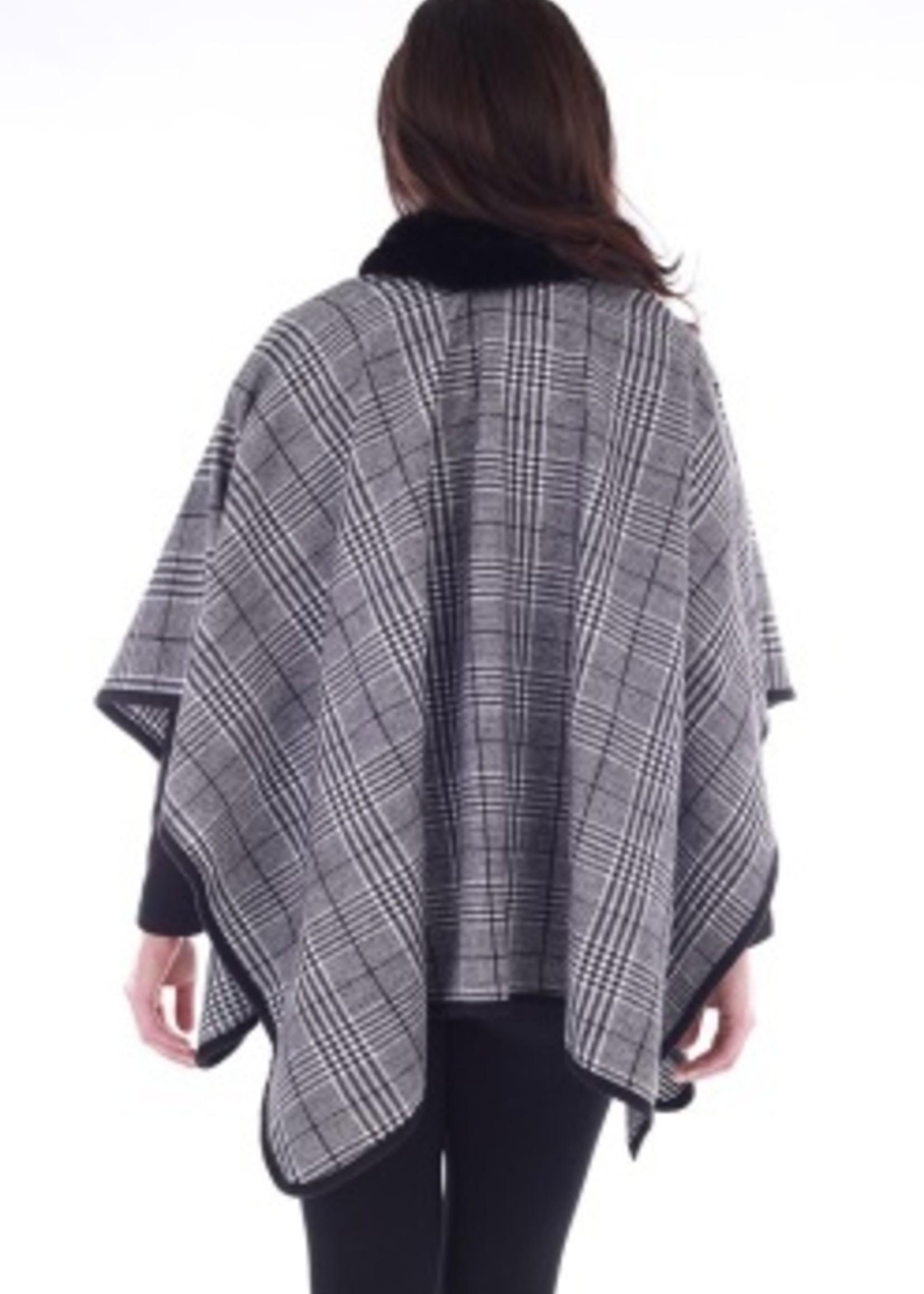 Donna White Plaid Cape with Fur Collar
