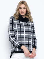 Picadilly Check Pattern Cowl Neck Sweater