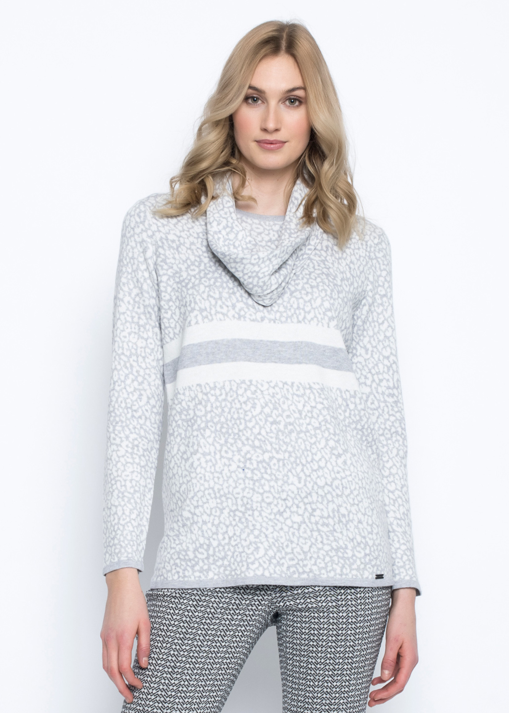 Picadilly Silver Animal Print Pullover