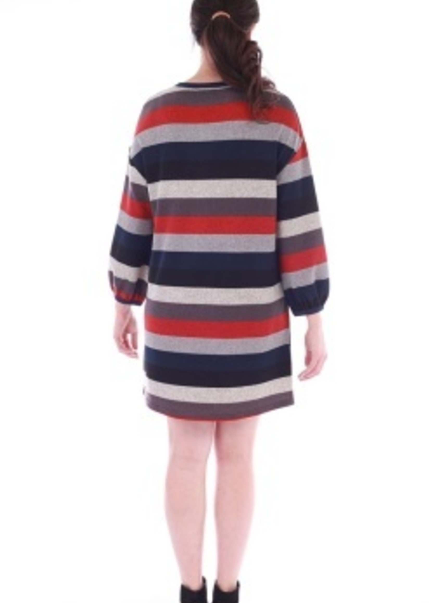 Livin for the Wkend Round Neck Striped Dress