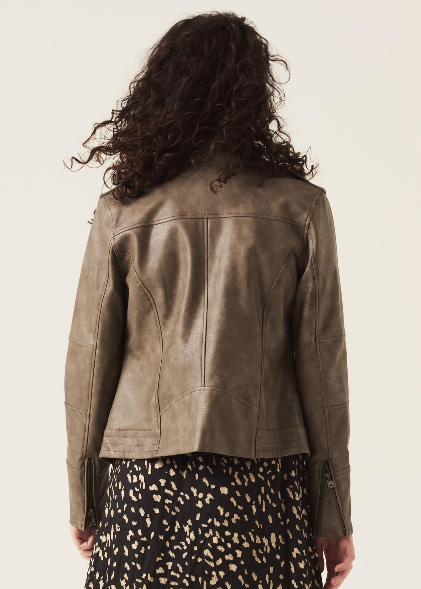 Garcia Garcia Grey Leather Look Moto Jacket