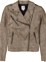 Garcia Grey Leather Look Moto Jacket