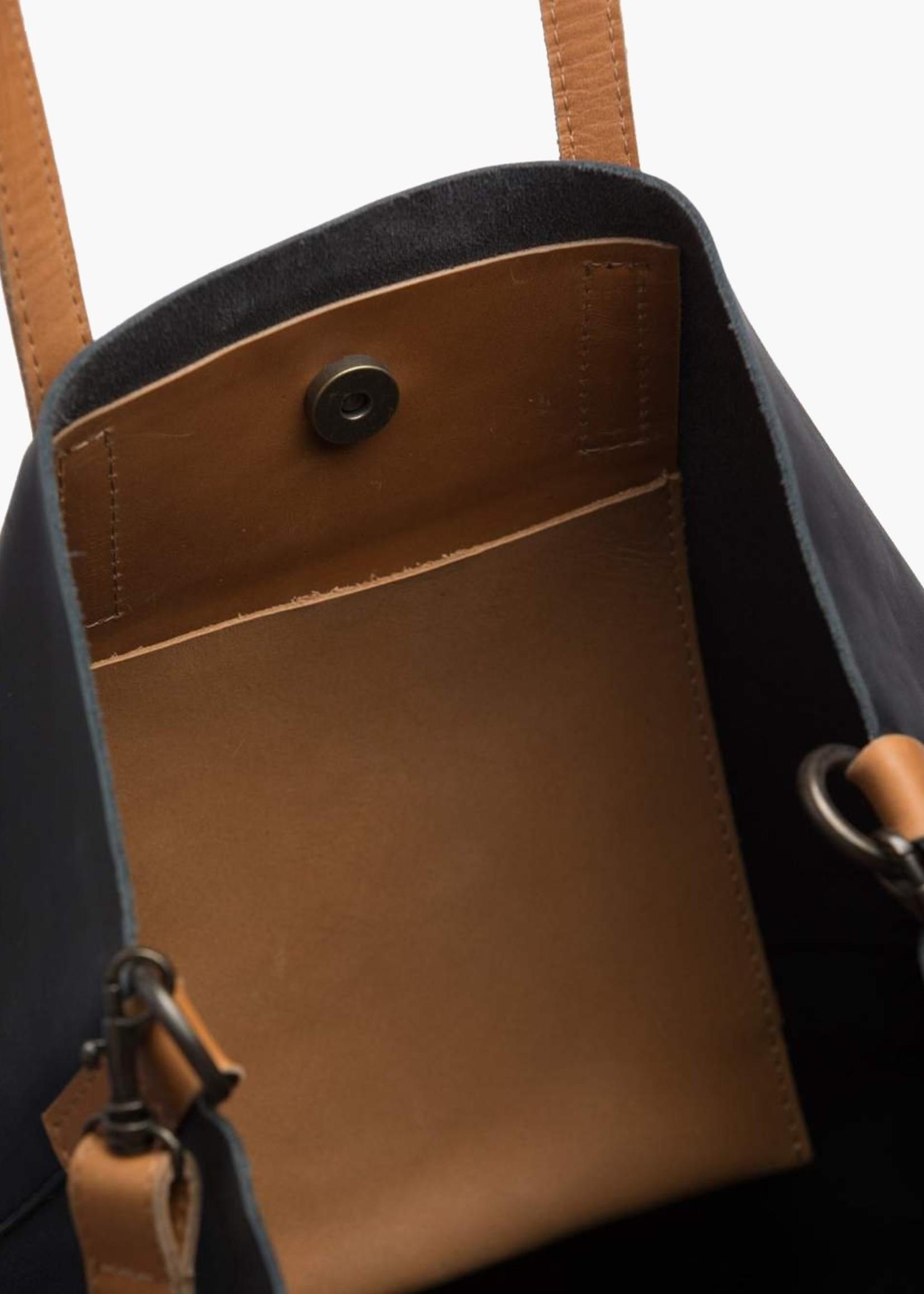Able Leather Abera Crossbody Tote Bk/Cognac