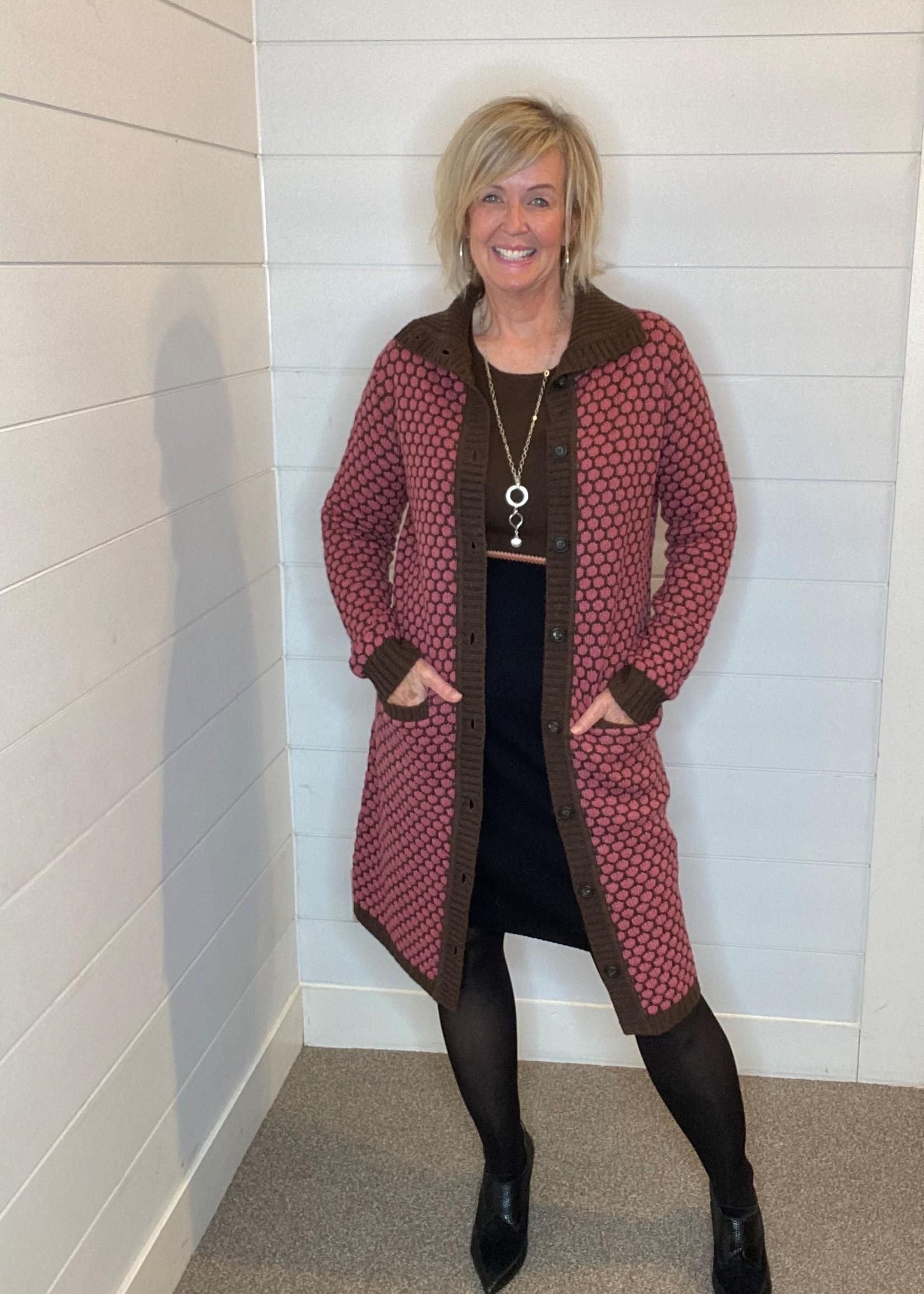 Zilch Zilch Polka dot Sweater Coat