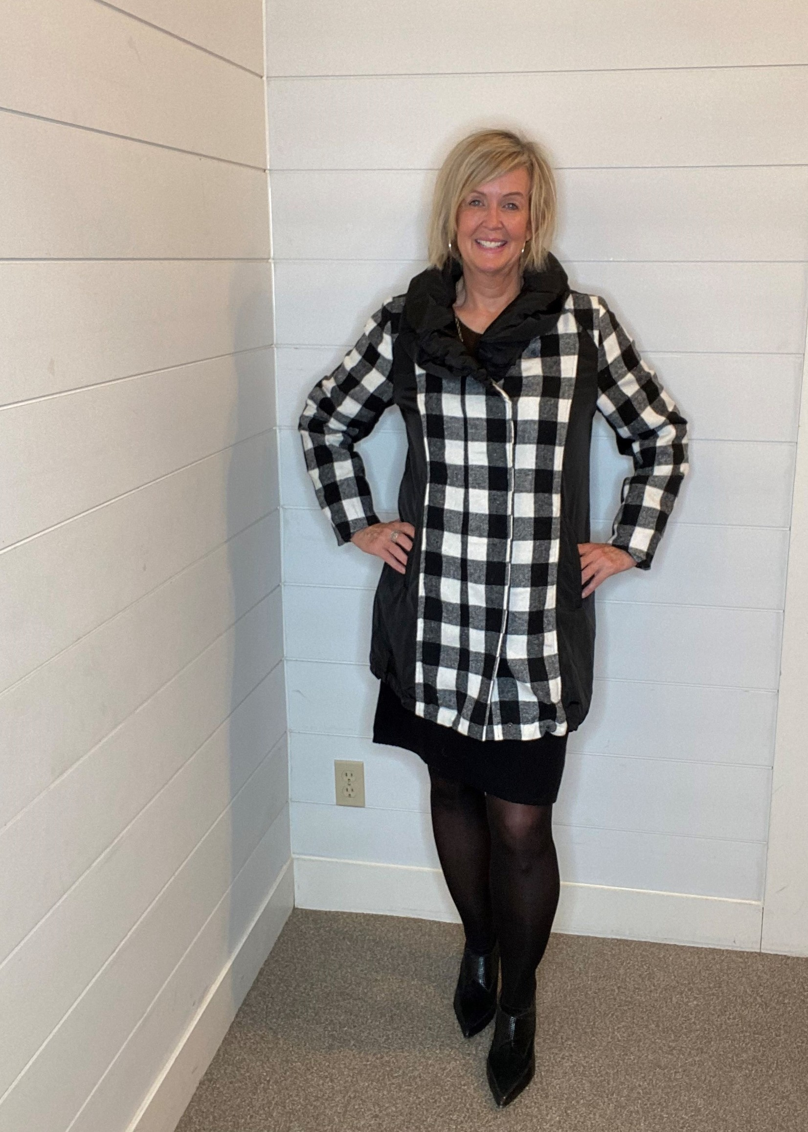 Orly Black & White Check Coat