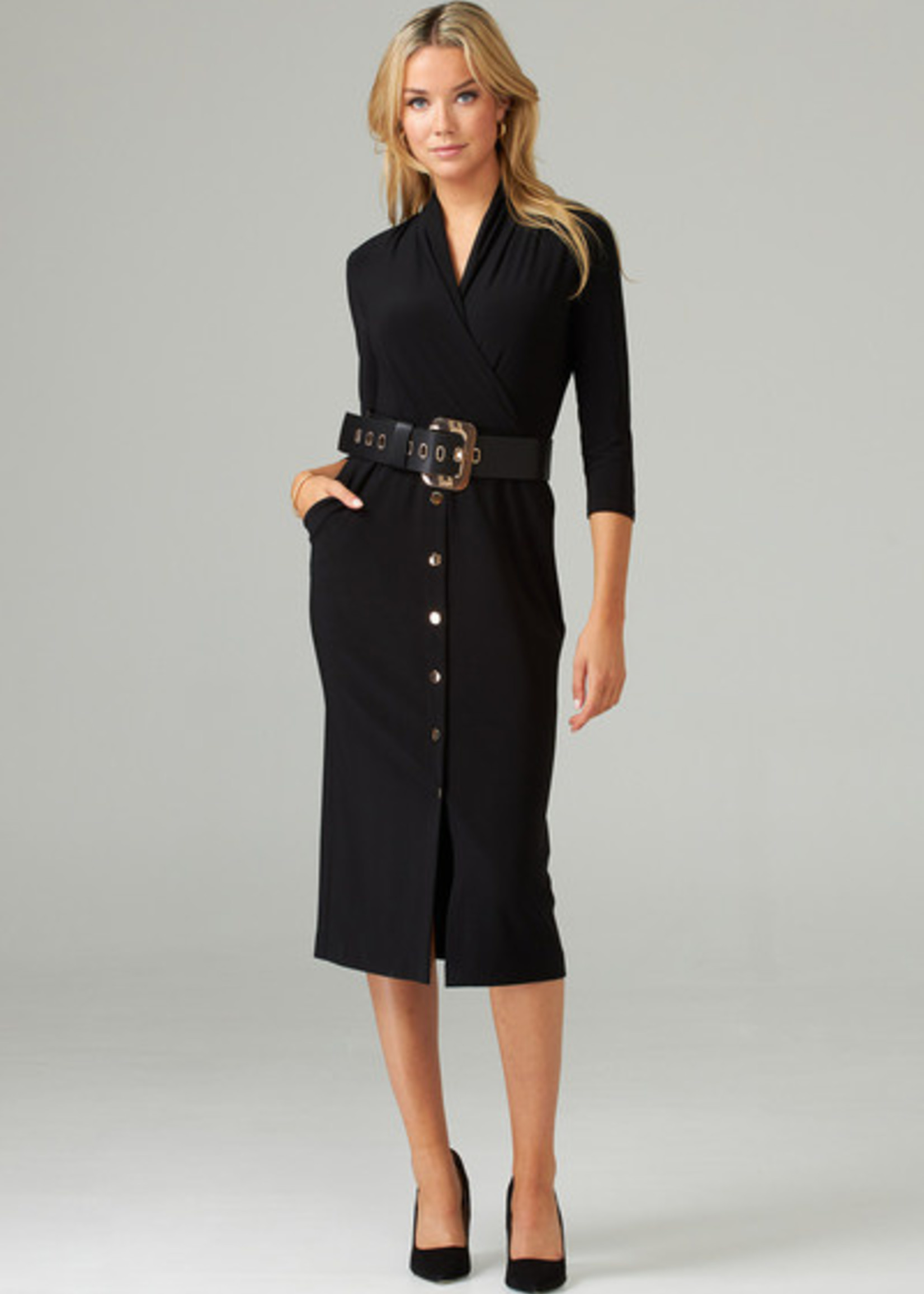 Joseph Ribkoff Black Dress with Belt and Buttons