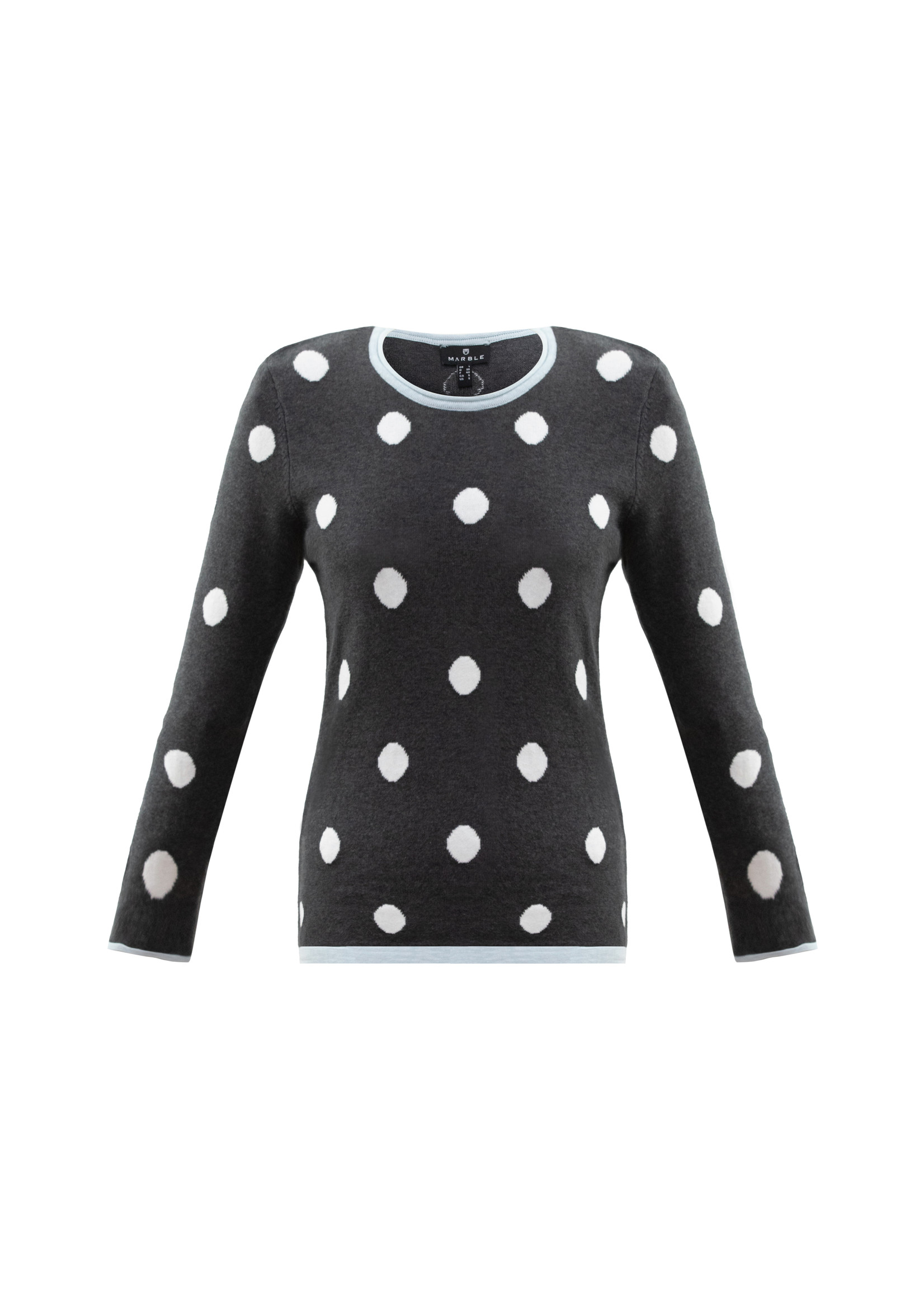 Marble Cotton Sweater with Dots