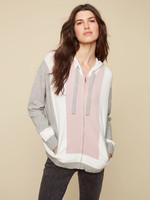 Charlie B Zipper Front Colour Block Sweater