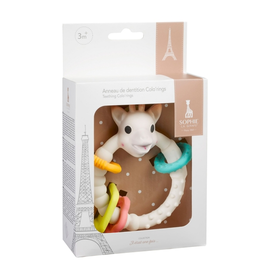 Calisson sophie teether with colored rings