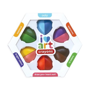 ooly i heart art erasable crayons, set of 6 (12 colors)