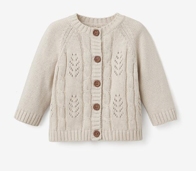 elegant baby cable knit cardigan