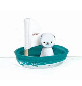 plan toys (faire) plantoys sailing boat - polar bear 12m+