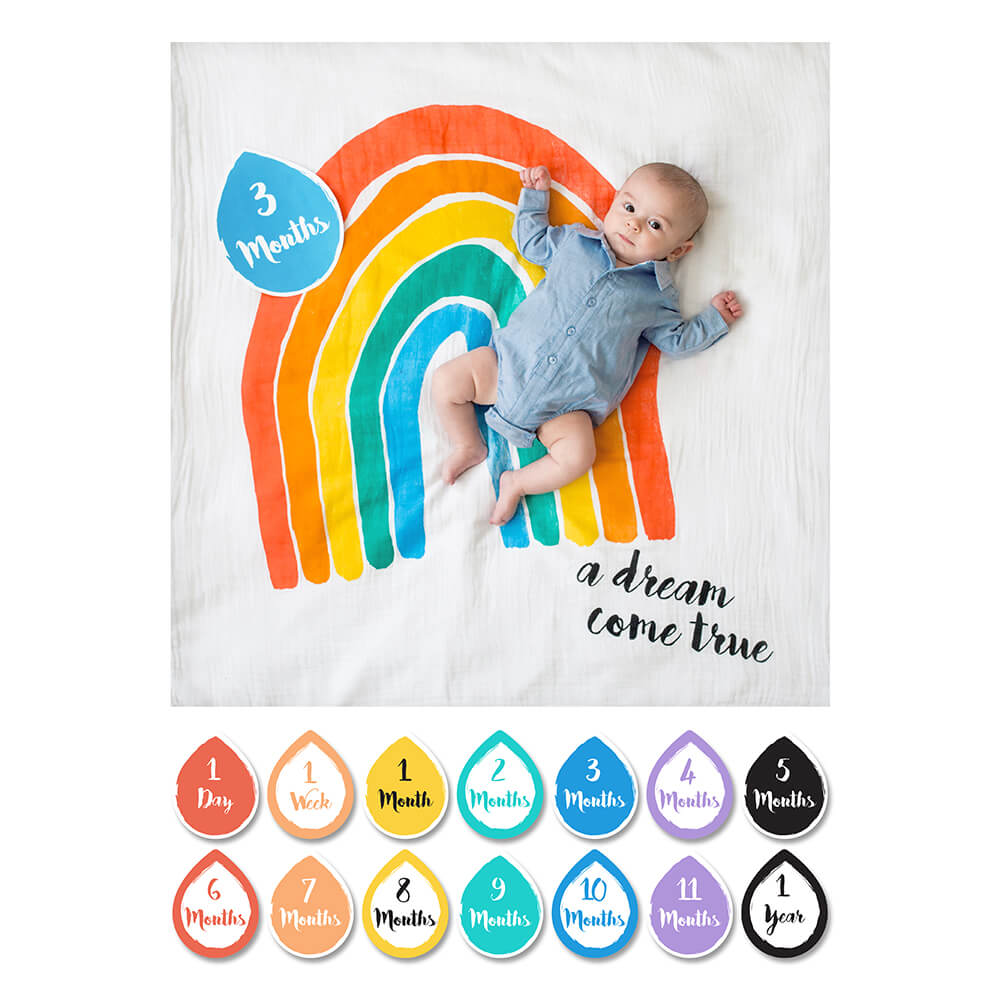 lulujo llj baby's first year blanket and cards set