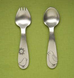 beehive kitchenware (faire) pewter baby spork and spoon set