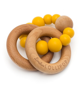 loulou lollipop loulou lollipop wood + silicone rattle
