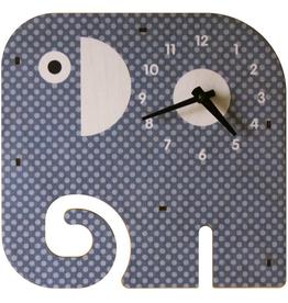 modern moose modern moose elephant clock, gray
