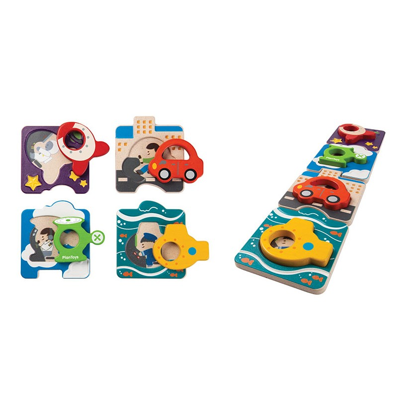 plan toys (faire) plantoys vehicle puzzle 12m+