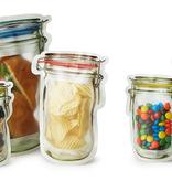 kikkerland mason jar zip bag, set of 4, small