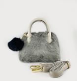MaeLi Rose (faire) furry handbag with pom
