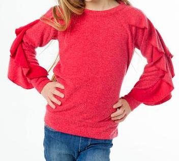 chaser chaser love ruffle raglan sweater