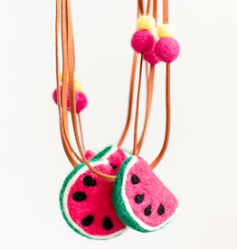 whimsical woolies (faire) woolies diffusing necklace, watermelon
