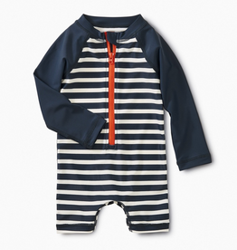 tea stripe rashguard one-piece