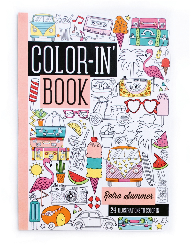 ooly travel size color-in book: retro summer