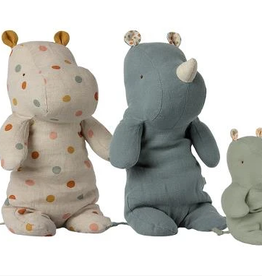 Maileg maileg hippo mum and rhino dad with baby, set of 3