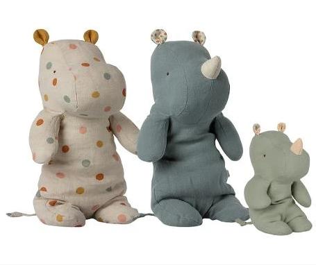 Maileg maileg hippo mum and rhino dad with baby, set of 3
