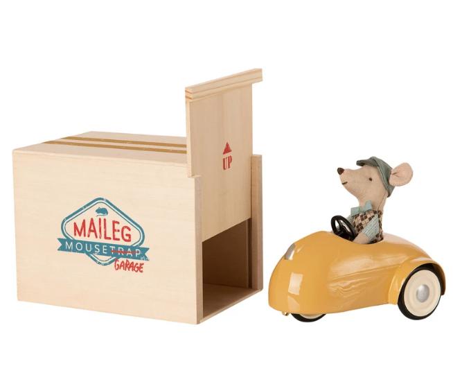 Maileg maileg mouse car w/ garage - yellow