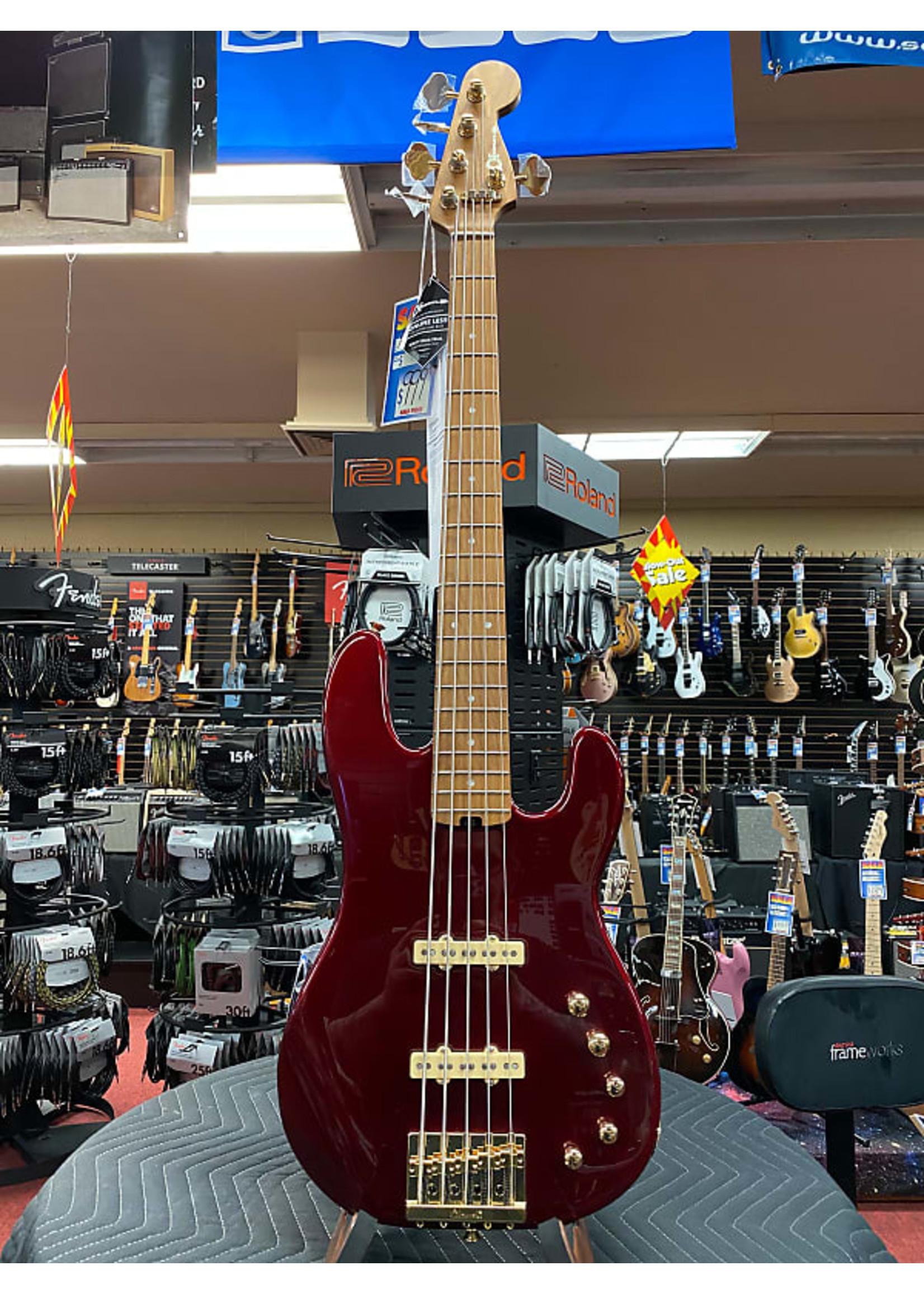 Charvel Charvel Pro-Mod San Dimas® Bass JJ V, Caramelized Maple Fingerboard, Candy Apple Red