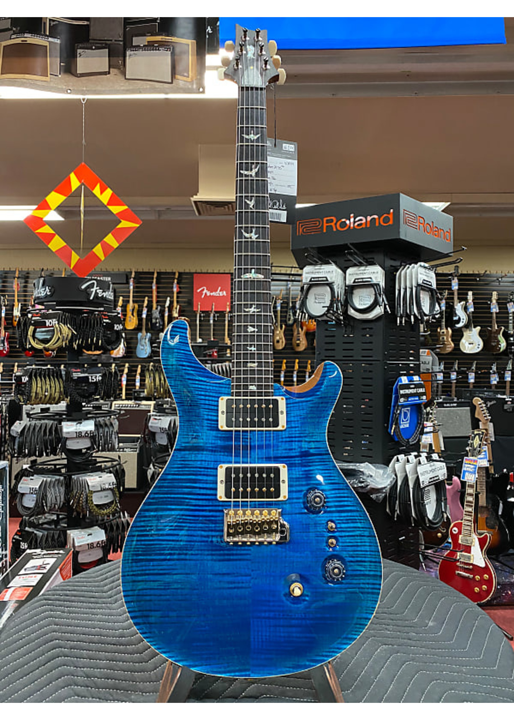 Paul Reed Smith Paul Reed Smith 35th Anniversary Custom 24 with Pattern Thin Neck - Aquamarine 10-Top