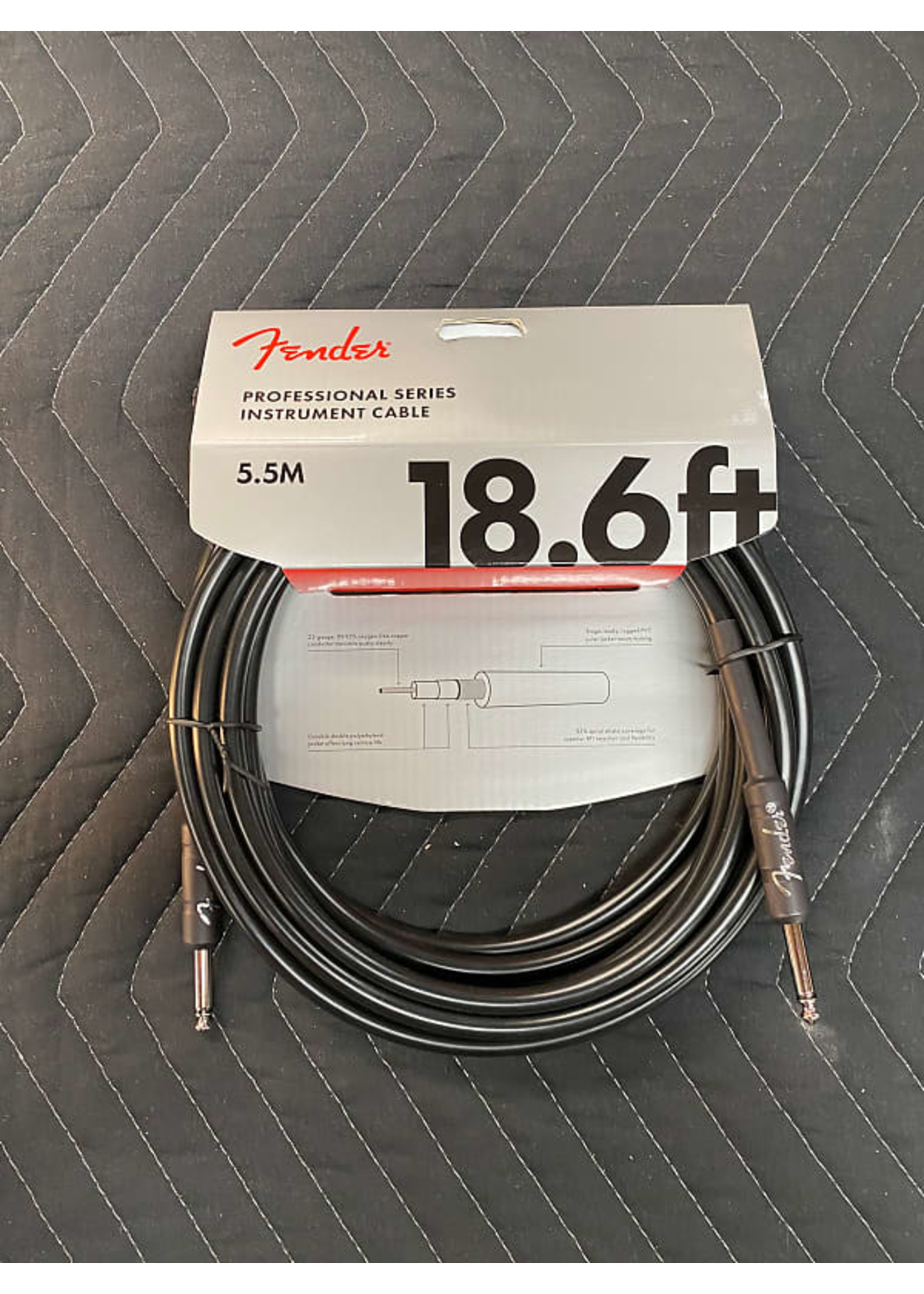 Fender Fender Professional Series Instrument Cable, Straight/Straight, 18.6', Black