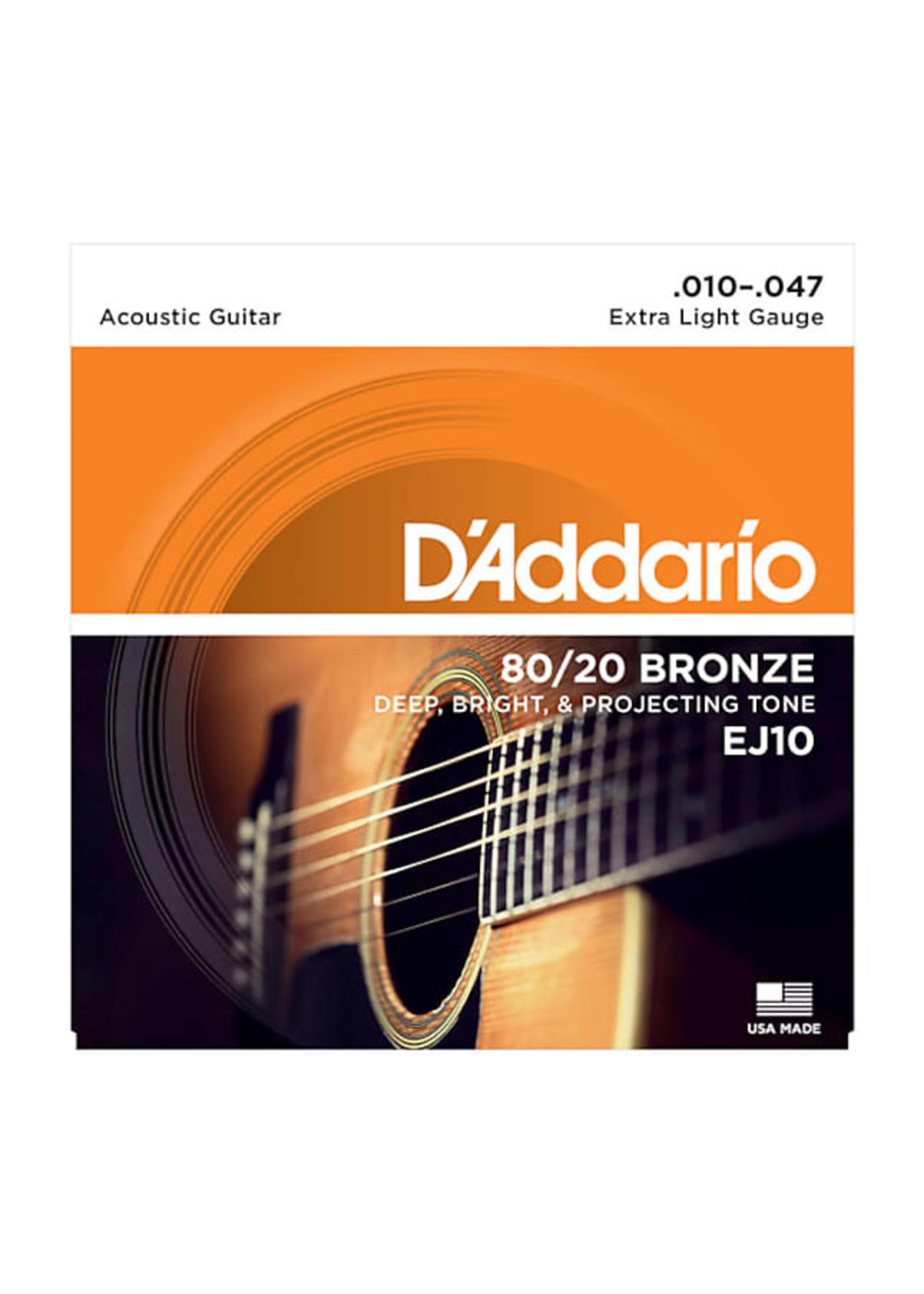 D'Addario D'Addario EJ10 80/20 Bronze Acoustic Guitar Strings, Extra Light, 10-47