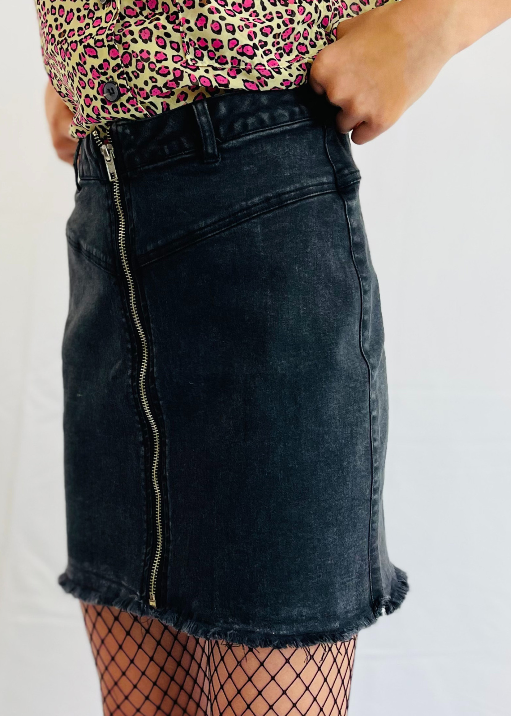 Waisted Distressed Skirt