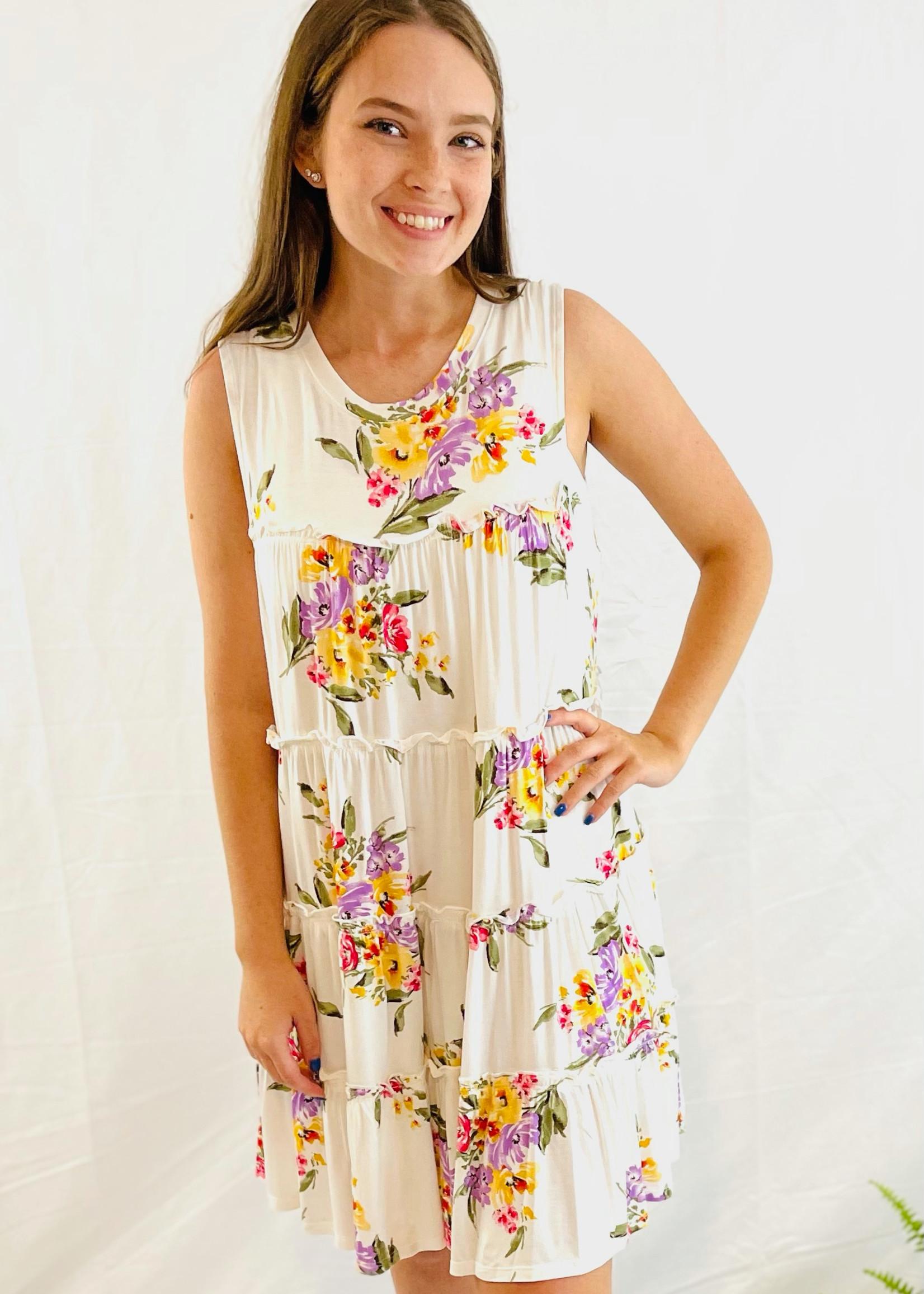 Floral Mini  Tiered Dress