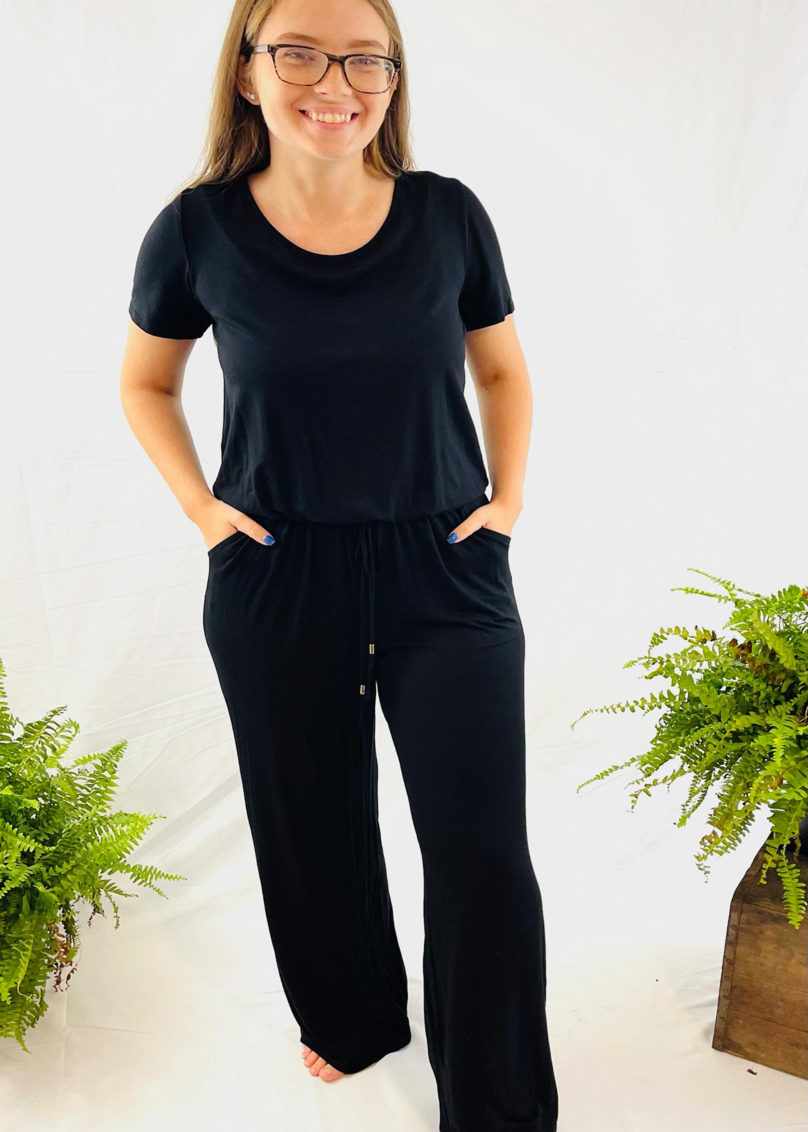 Keyhole Short Sleeve Jumpsuit