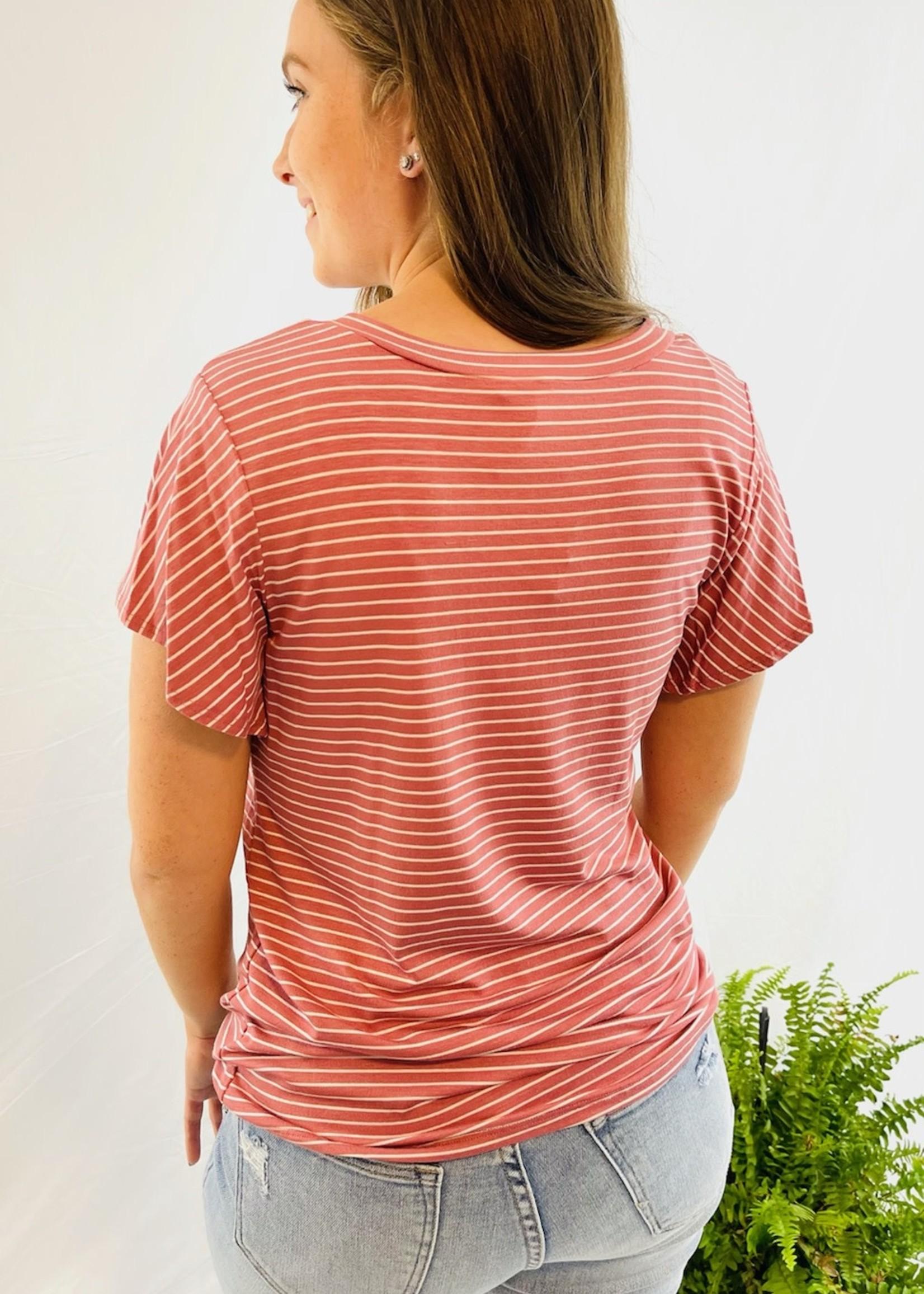 Striped Flutter Sleeve Top