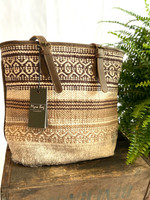 Beige Tribal Patterned Tote Bag