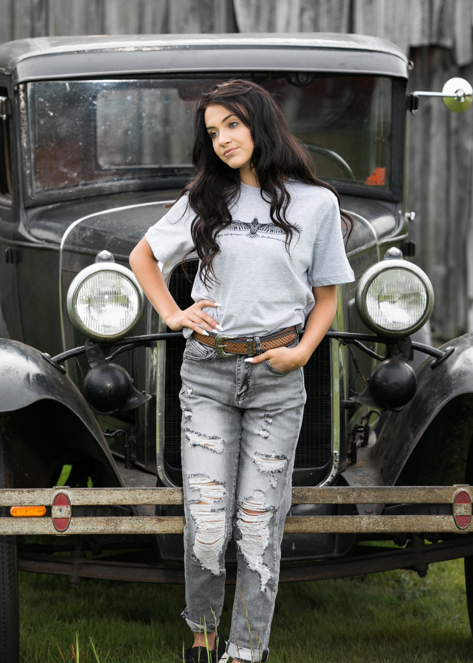 Distressed Relaxed  Grey Skinny Jeans