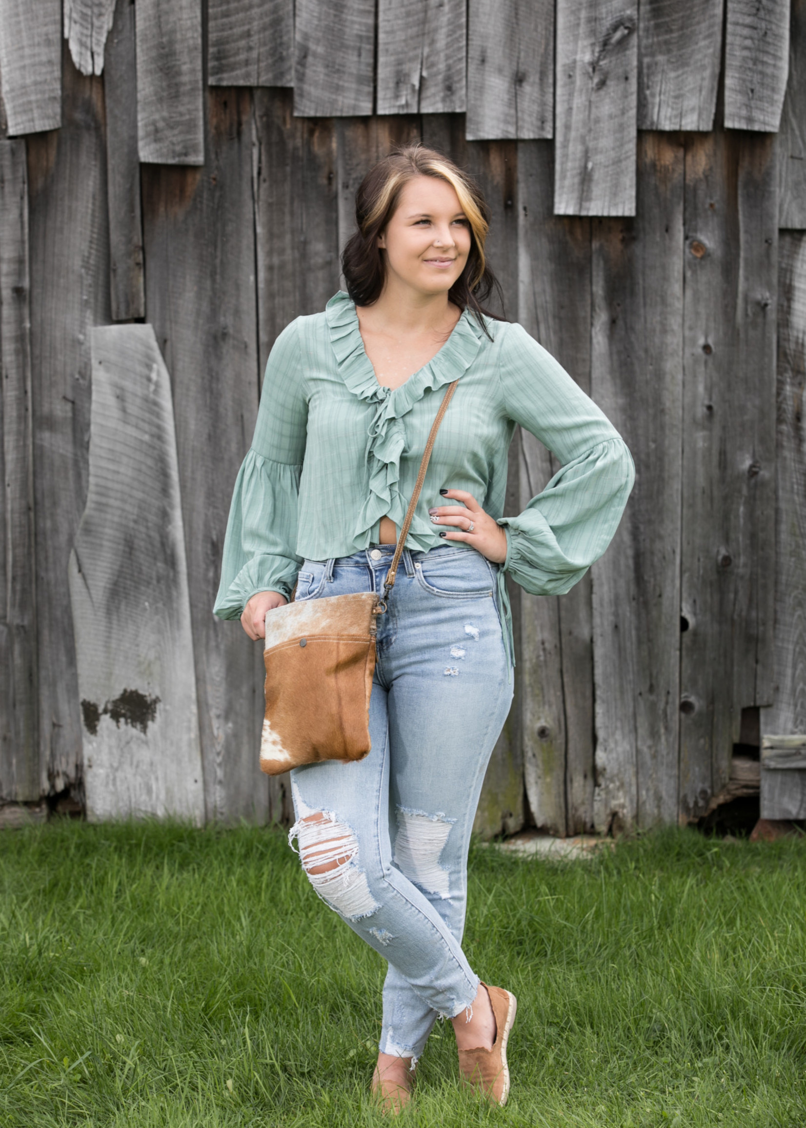 Frill Trom Bishop  Sleeve Blouse