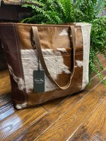 Caramel Front Pocket Hairon Tote Bag