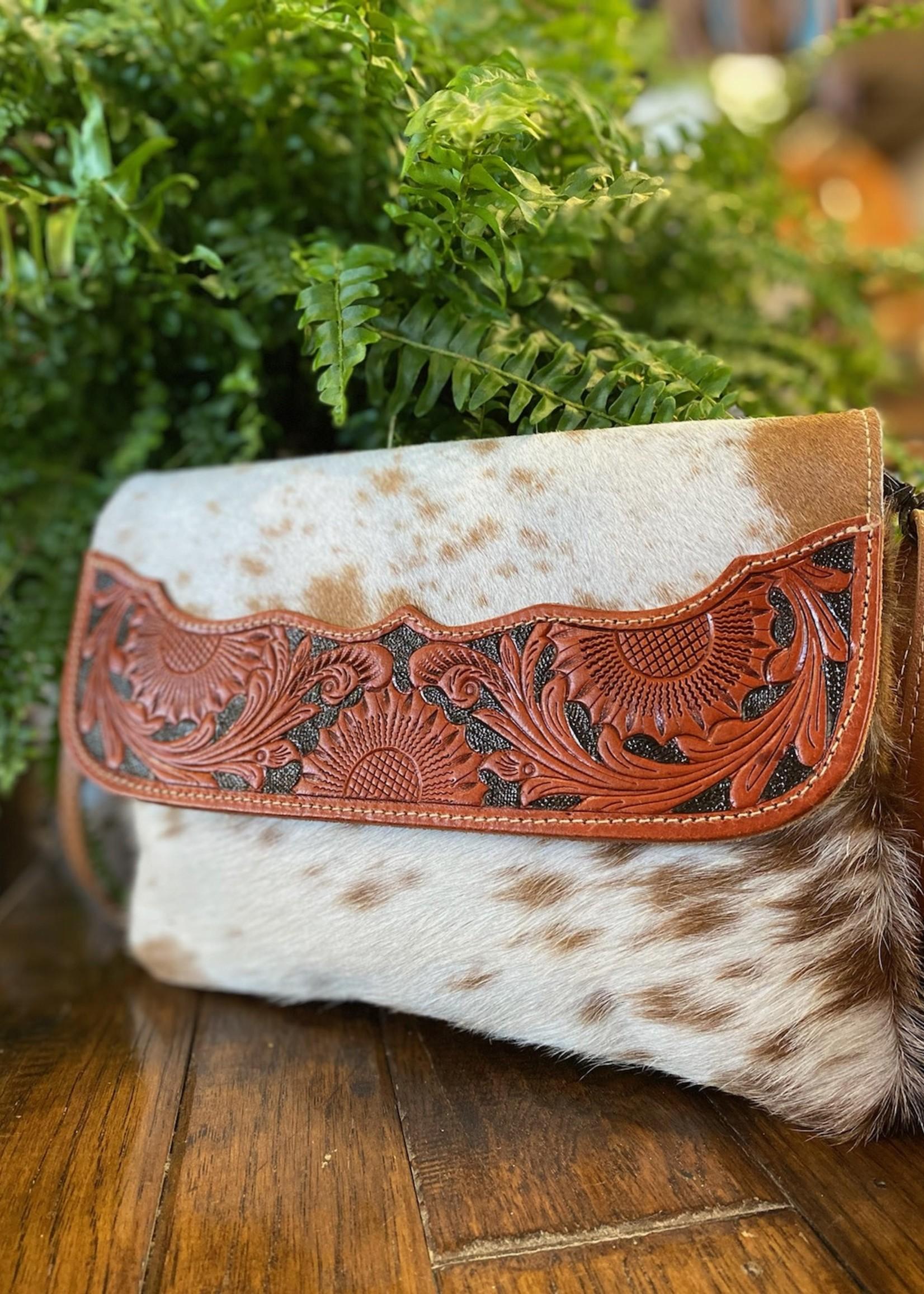 Brown Shells Hand-Tooled Bag