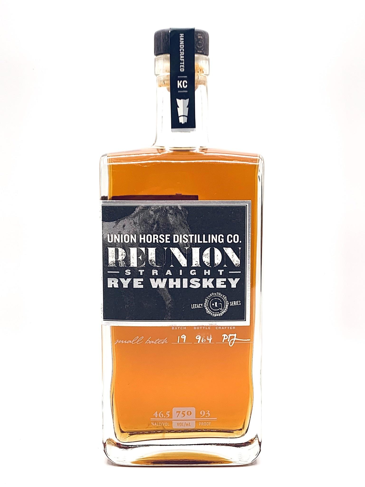 "Union Horse Distilling ""Reunion"" Straight Rye Whiskey  750ml (93 proof)"