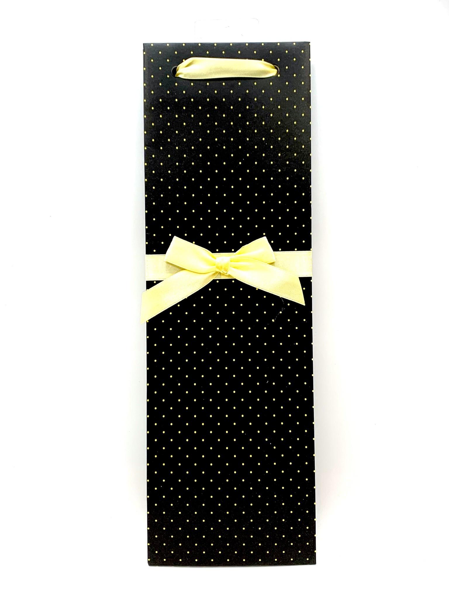 Elegant Black and White Polkadot 1-Bottle Gift Bag
