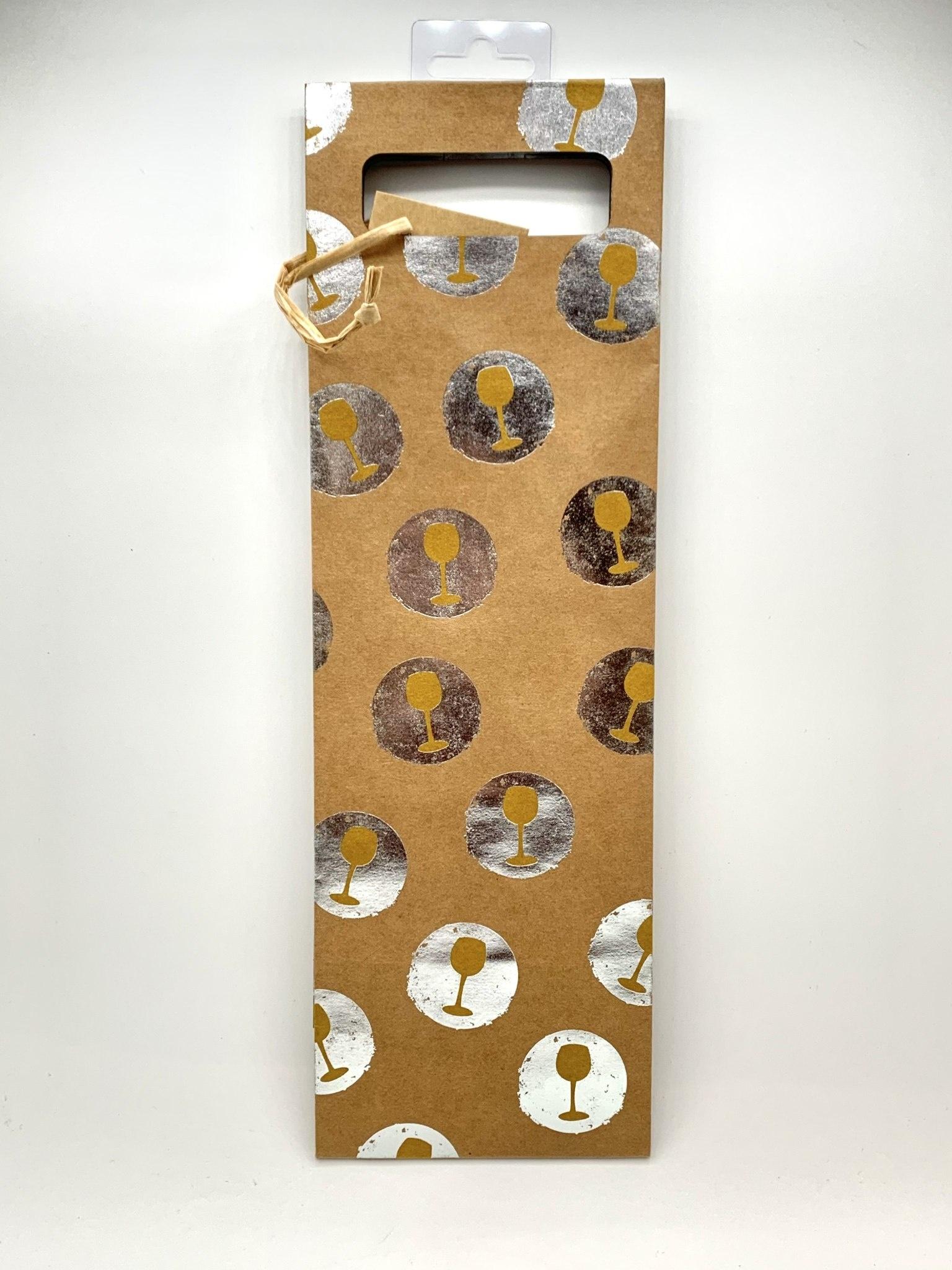 Kraft Tipsy Silver 1-Bottle Gift Bag
