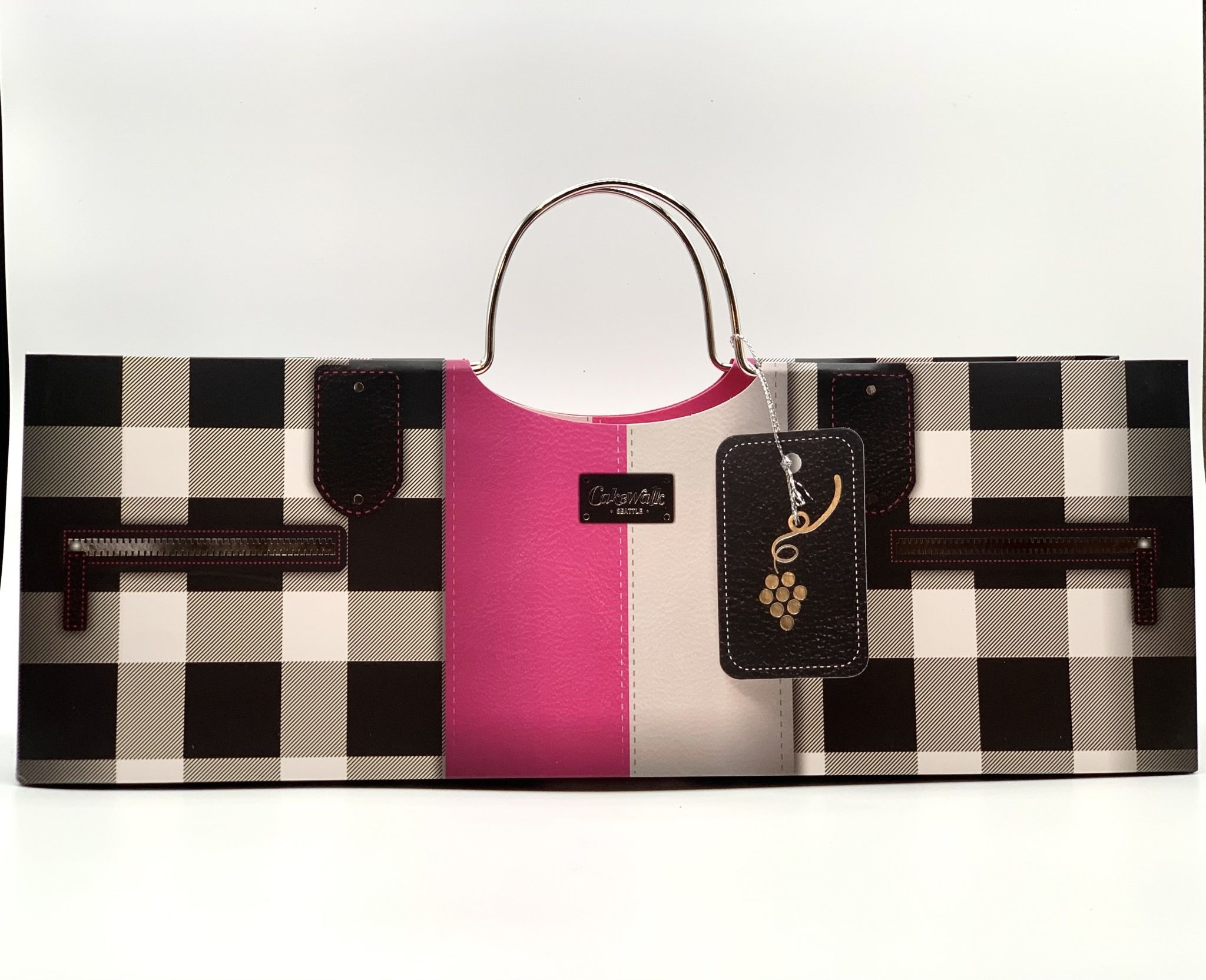 Black and Pink Checkered 1bt Purse Gift Bag