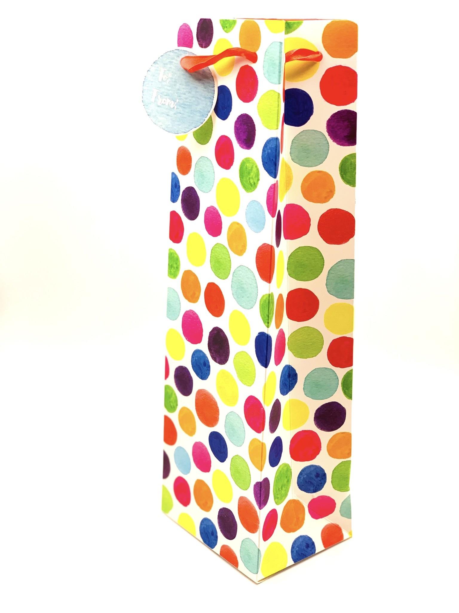 Watercolor Dots 1-Bottle Gift Bag